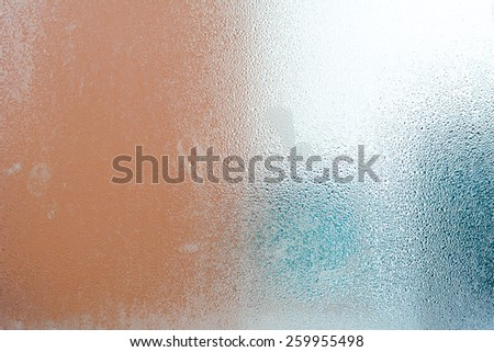 Frosted glass texture with steam & water drops - stock photo