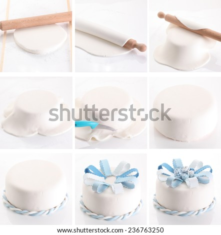 Frosting a wedding cake step-by-step - stock photo