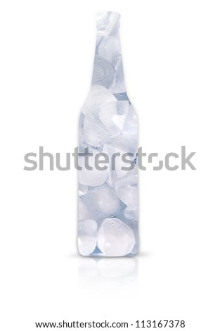 Frosty beer bottle full of ice isolated on a white background. beer bottle made of ice - stock photo