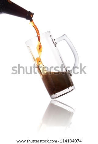 Frosty beer pouring from bottle in to the glass isolated  on a white background