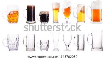 Frosty  fresh beer collection full and empty glasses isolated background