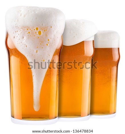 Frosty fresh beer collection with foam isolated background