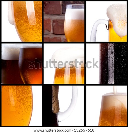 Frosty fresh beer set with foam