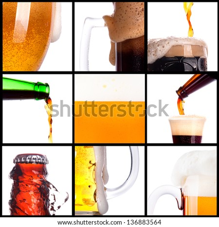 Frosty fresh beer set with foam - stock photo