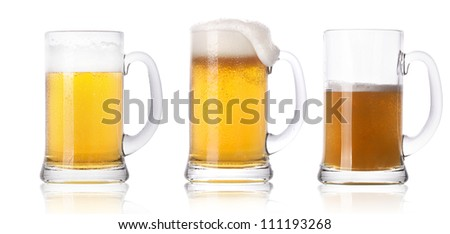 Frosty fresh beer set with foam isolated on a white background - stock photo