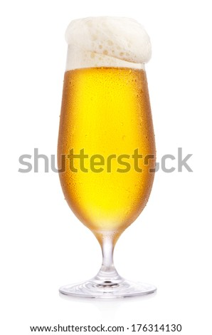 Frosty glass of beer isolated on a white background - stock photo