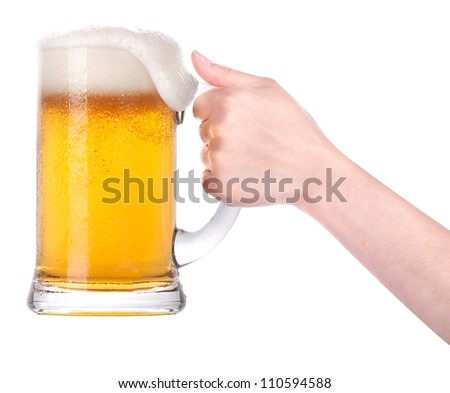 Frosty glass of beer with hand.making toast isolated on a white background - stock photo
