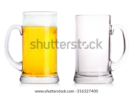 Frosty glass of light beer and empty glass isolated on a white background