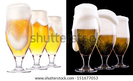 Frosty glass of light beer  isolated on a black and white background