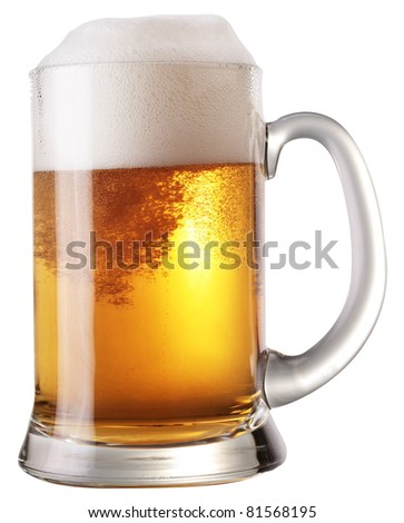 Frosty glass of light beer isolated on a white background. File contains a path to cut.