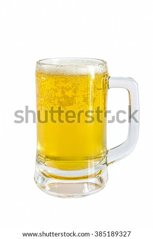Frosty glass of light beer on a white background