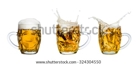 Frosty glass of light beer set isolated on a white background - stock photo