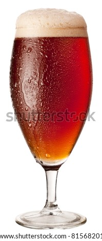 Frosty glass of red beer isolated on a white background. File contains a path to cut. - stock photo
