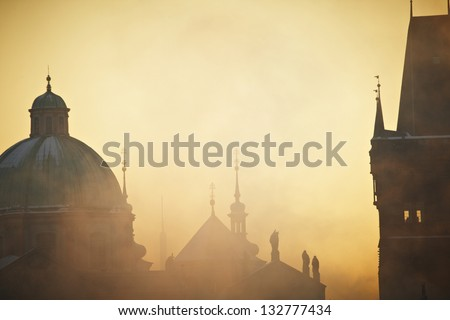 Frosty morning in Prague, Czech Republic - stock photo