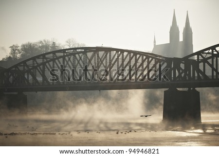 Frosty morning in Prague - Old railway bridge - stock photo