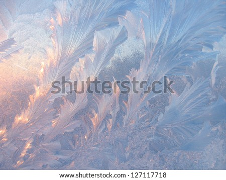 Frosty natural pattern and sunlight on winter glass - stock photo
