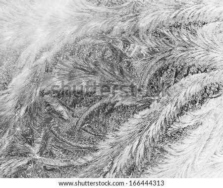 Frosty patterns on glass. Winter background.