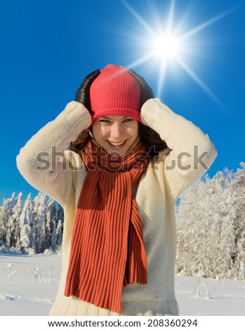 Frosty Scene On a Sunny Day  - stock photo