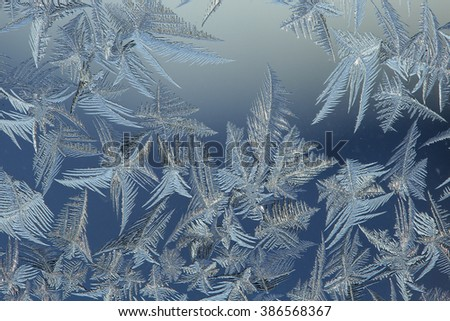 Frosty winter drawing on glass in cold day