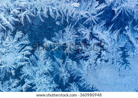 Frosty winter pattern at a window glass