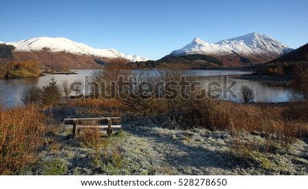 Frosty winters morning at Ballachulish with a view towards Loch Leven and the Pap of Glencoe in Lochaber.