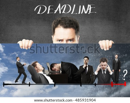 Frowning young businessman holding poster with creative line graph. Deadline concept