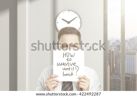 Frowny businessman doesn't  know how to survive until lunch in office interior with city view. 3D Rendering