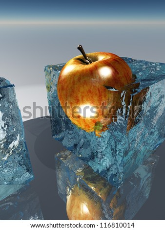 Frozen apple food preservation - stock photo