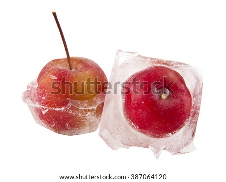 frozen apple on a white background