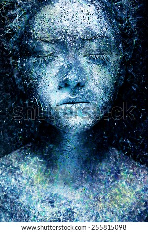 Frozen beautiful woman. Fantasy snow make up and body art. On dark background.  - stock photo