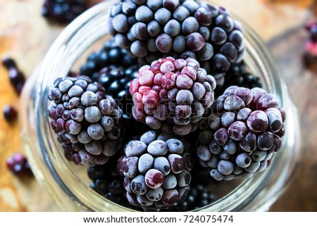 Frozen Blackberries Close Up
