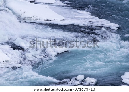 Frozen body of water at Waterfall