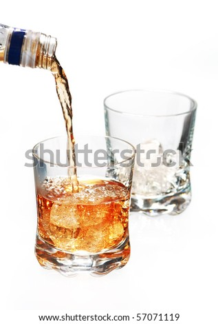 frozen bottle of whisky with ice cube on white background