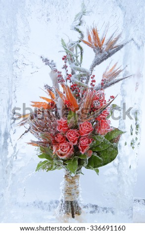 frozen bouquet of flowers with red roses and green leaves in block of ice - stock photo