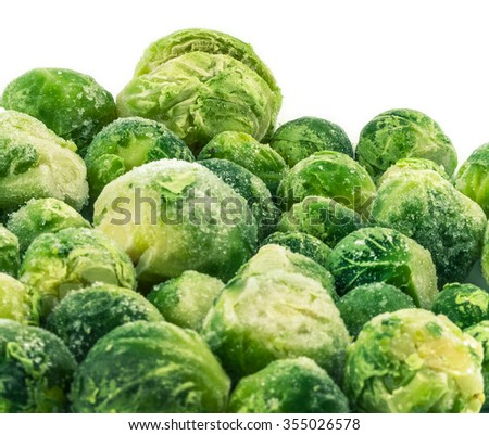 frozen brussels sprouts - stock photo