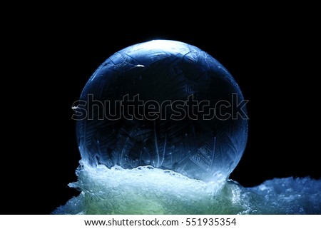 frozen bubble, ice-covered ball of soap