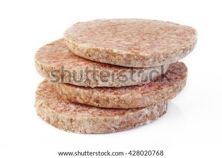 frozen burger on white background - stock photo