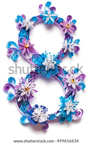 Frozen Christmas paper letter from winter alphabet made in paper quilling technic