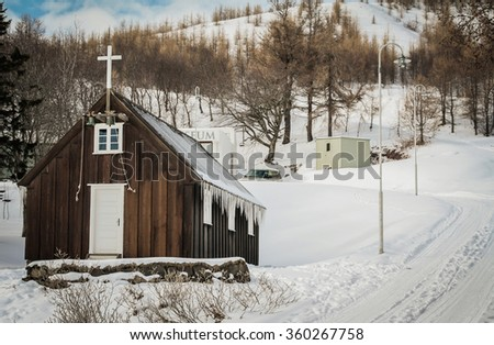 Frozen Church in Akureyri, Iceland