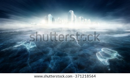 Frozen city in icy landscape - stock photo