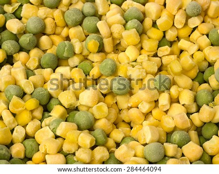 frozen corn and peas close up - stock photo