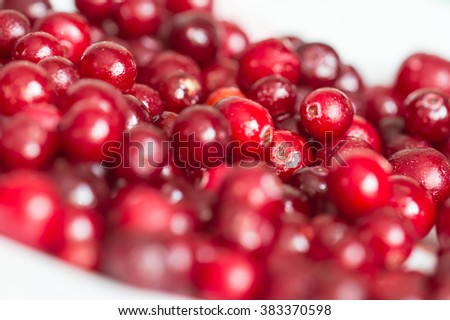 Frozen cranberries on a crimson background close up - stock photo