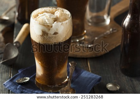 Frozen Dark Stout Beer Float with Ice Cream - stock photo