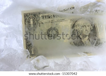 Frozen dollar in a block of ice