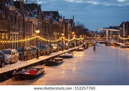 Frozen Dutch Canal - stock photo
