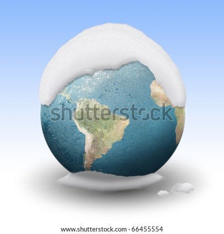 Frozen Earth covered by snow - stock photo