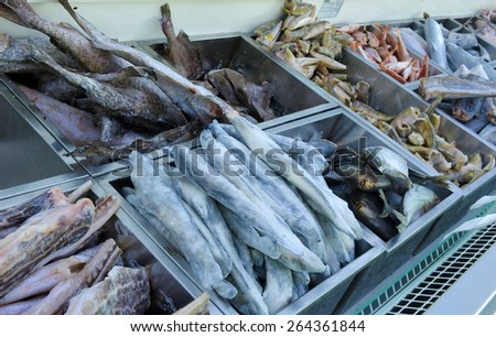 frozen fish in the fish shop - stock photo