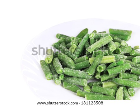 Frozen french beans.  Isolated on a white background. - stock photo