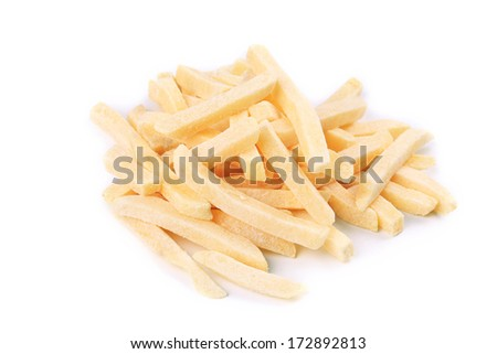 Frozen french fries. Isolated on a white bakground.