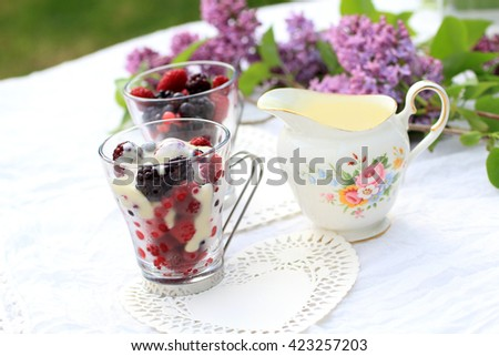 Frozen fruit with white chocolate sauce on the garden table.